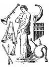 Kleurplaat oude instrumenten