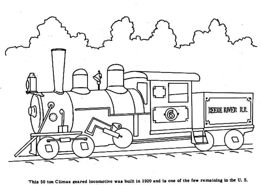 kleurplaat oude trein