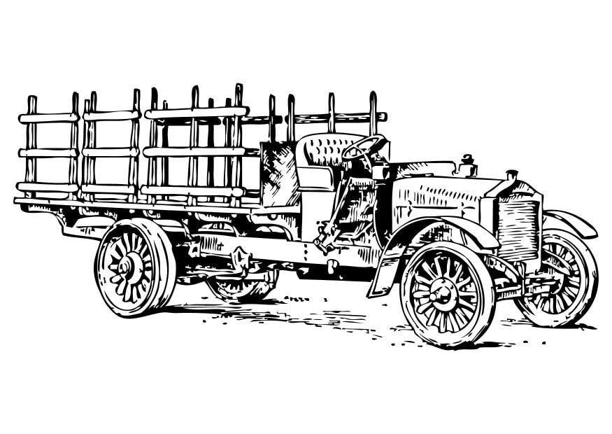 Kleurplaat Oude Vrachtwagen Afb 10474