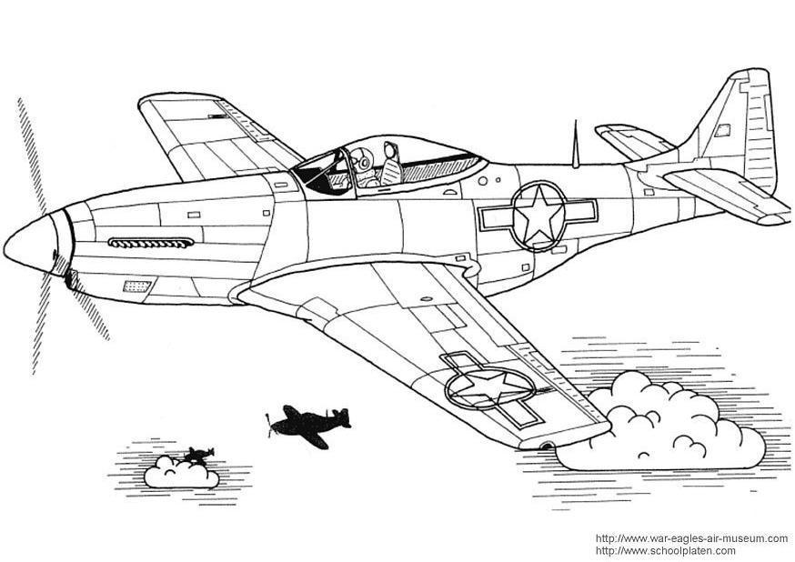 Kleurplaat P 51 Mustang Afb 3029