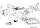 Kleurplaat P-51 Mustang