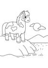 Kleurplaat paard aan het water