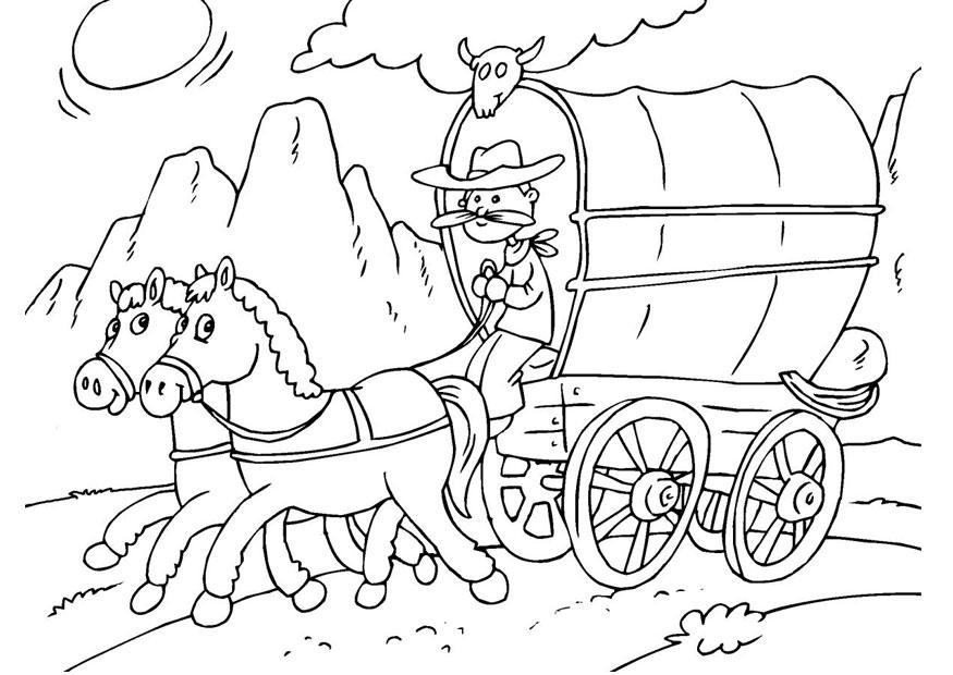 Kleurplaat Paarden Western Kleurplaat Paard En Huifkar Afb 25968 Images