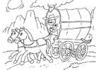 Kleurplaat paard en huifkar