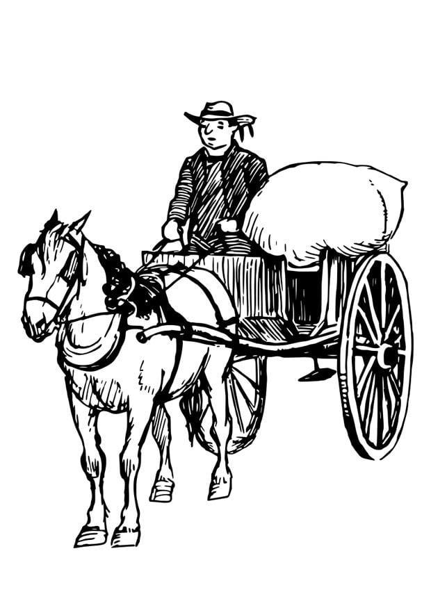 Kleurplaat paard en kar afb 30204 - Charrette dessin ...