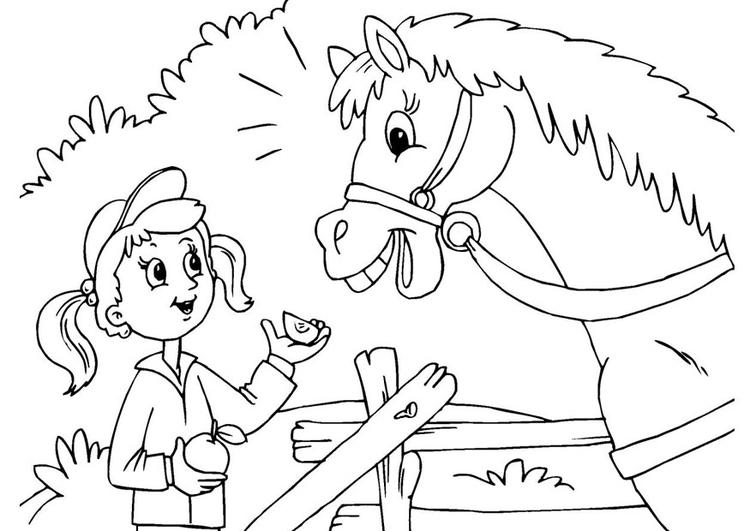 Paard Opgezadeld Kleurplaat Kleurplaat Paard En Meisje Gratis Kleurplaten Om Te Printen
