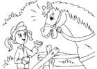 Kleurplaat paard en meisje