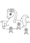 Kleurplaat paard in de weide