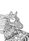 Kleurplaat paard in de wind