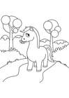 Kleurplaat paard in het bos