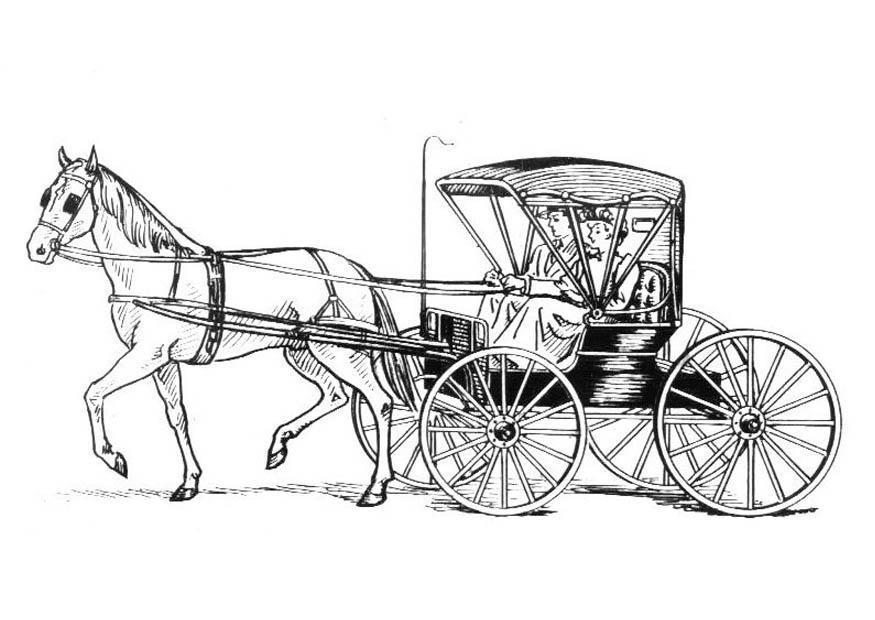 Kleurplaat Paard Met Koets Afb 18997