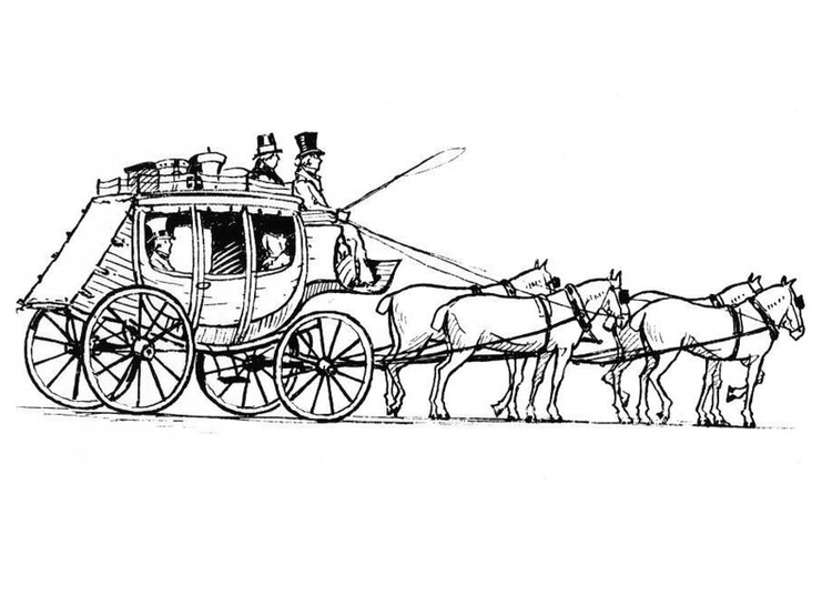 Kleurplaten Paard En Koets.Kleurplaat Paarden Met Koets Afb 18980