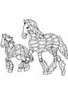 Kleurplaat paarden