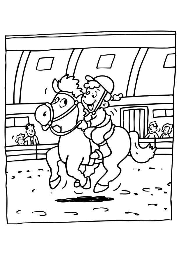 kleurplaat paardrijden afb 6531