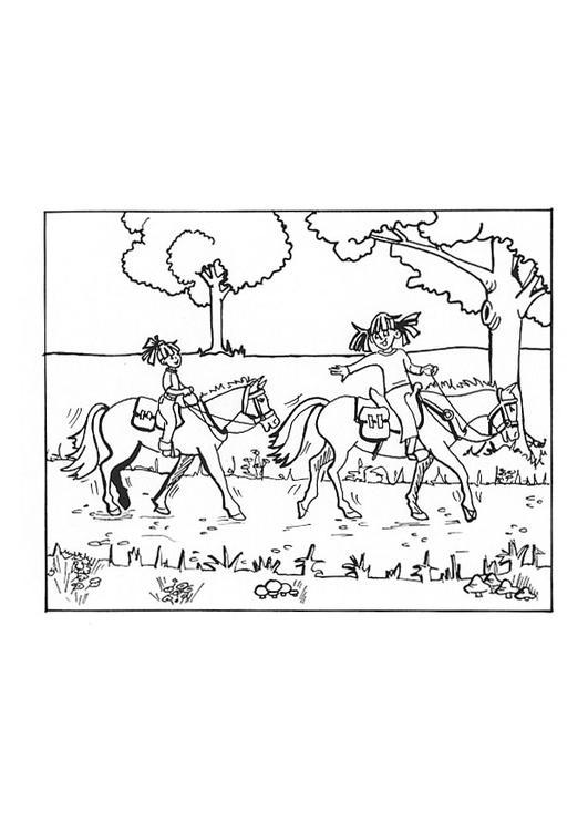 Kleurplaat Paardrijden Afb 9652