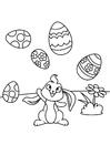 Kleurplaat Paashaas speelt met paaseieren