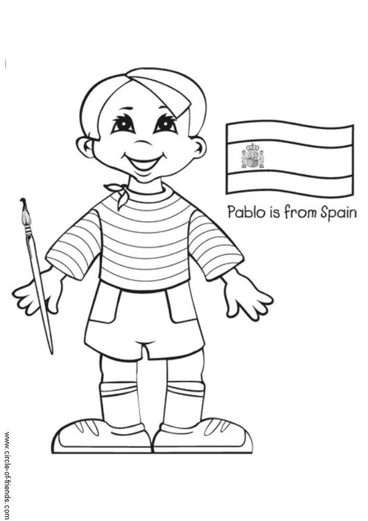 kleurplaat pablo uit spanje met vlag gratis kleurplaten