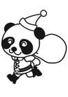 Kleurplaat panda in kerstpak