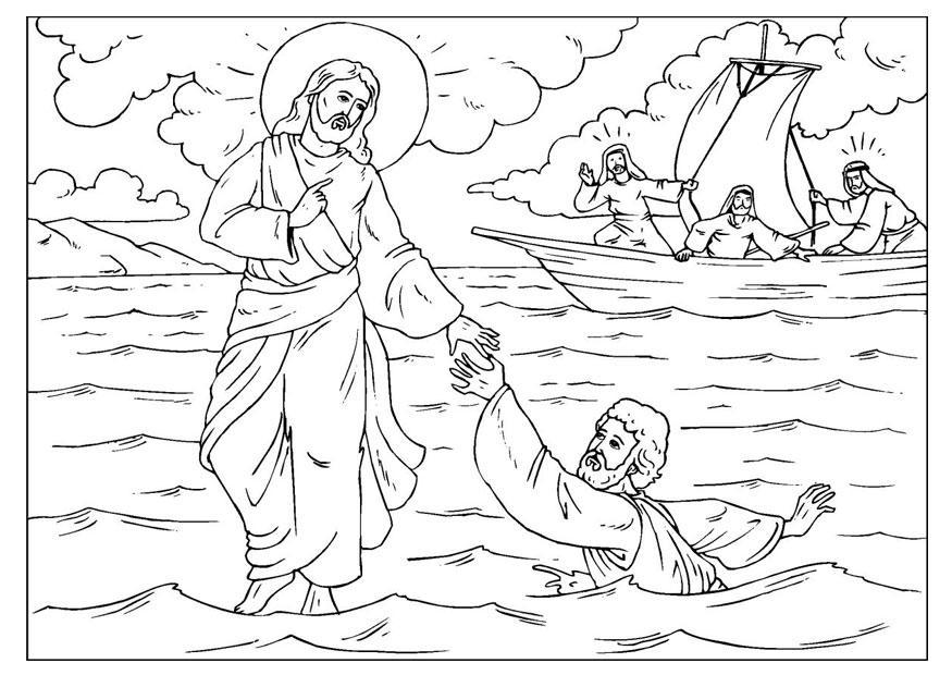 Christelijke Kleurplaat Jezus Loopt Over Water Kleurplaat Petrus Verliest Zijn Geloof Afb 25920 Images