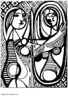 Kleurplaat Picasso - meisje voor de spiegel