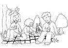 Kleurplaat picknick