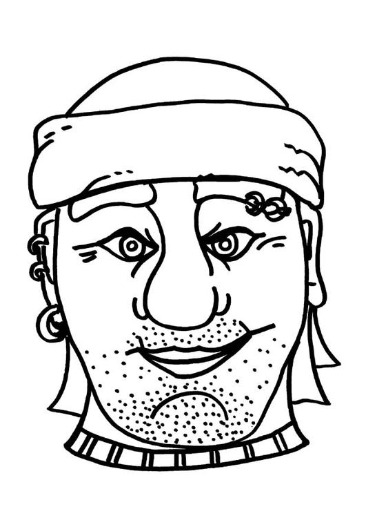 Kleurplaat Masker Piraat Boef Afb 9182