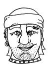 Kleurplaat masker piraat / boef