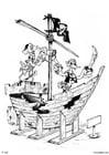 Kleurplaat piraten - piratenschip