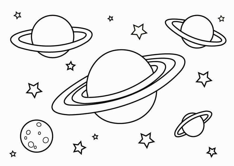 Kleurplaten Ruimtevaart.Kleurplaat Planeten Afb 26798