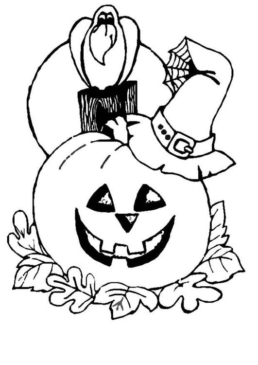 Kleurplaten Halloween Pompoen Vleermuis.Kleurplaat Pompoen Mer Kraai Afb 8629