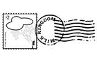 Kleurplaat postzegel en stempel