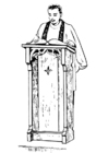 Kleurplaat priester achter lessenaar