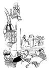 Kleurplaat priester preekt