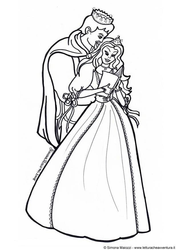 kleurplaat prins en prinses afb 12321