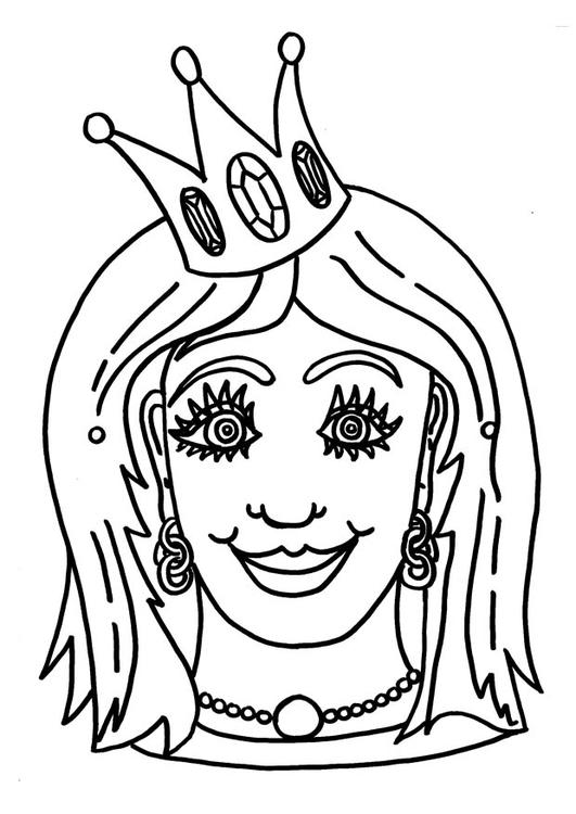 kleurplaat masker prinses