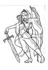 Kleurplaat Prinses Mellia -boogschutterkrijger-