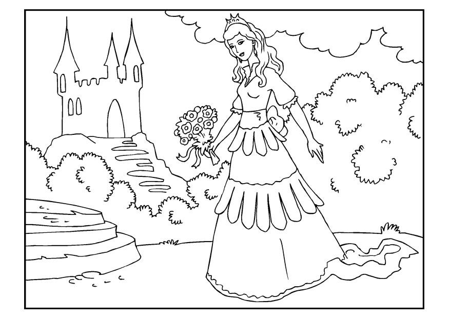 Grote Kleurplaten Prinsessen.Kleurplaat Prinses Met Bloemen Gratis Kleurplaten Om Te