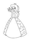 Kleurplaat prinses met bloemen