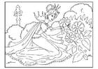 Kleurplaat prinses plukt bloemen