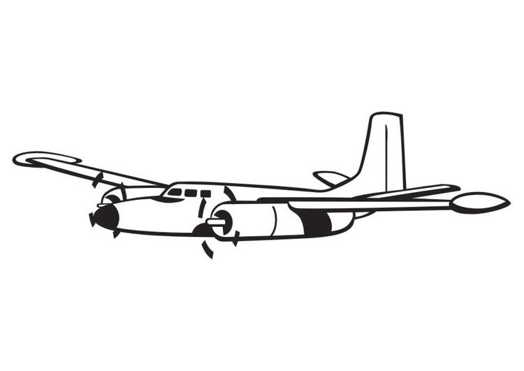 kleurplaat propeller vliegtuig afb 16435