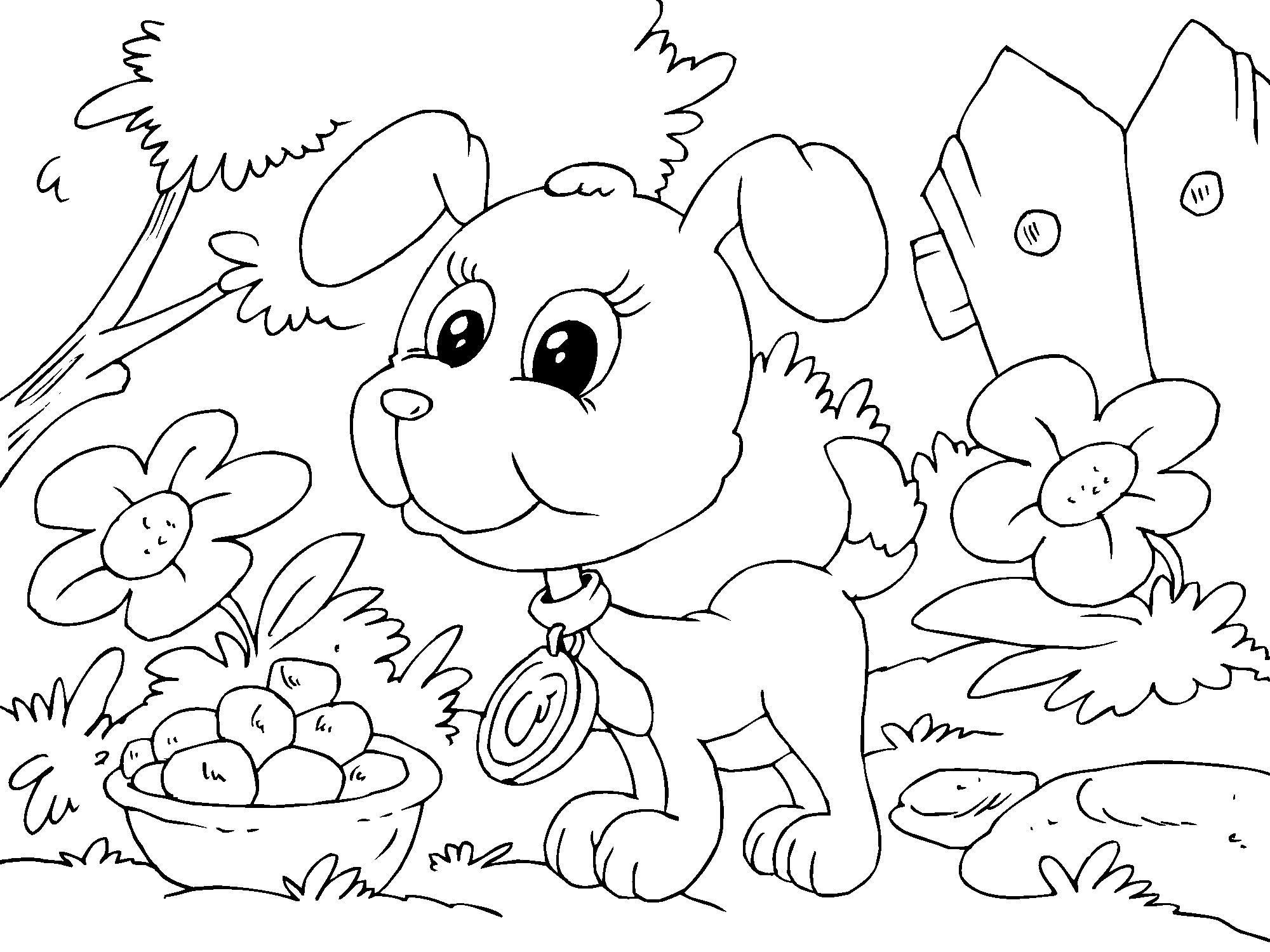 Kleurplaten Dieren Puppies.Kleurplaat Puppy Hondje