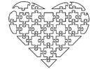 Kleurplaat puzzel hart