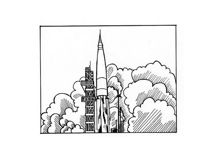 Kleurplaat Raket Afb 10436