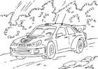 Kleurplaat rally auto