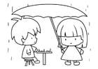 Kleurplaat regen