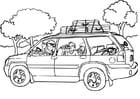 Kleurplaat reizen - auto