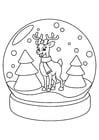 Kleurplaat rendier in kerstbol