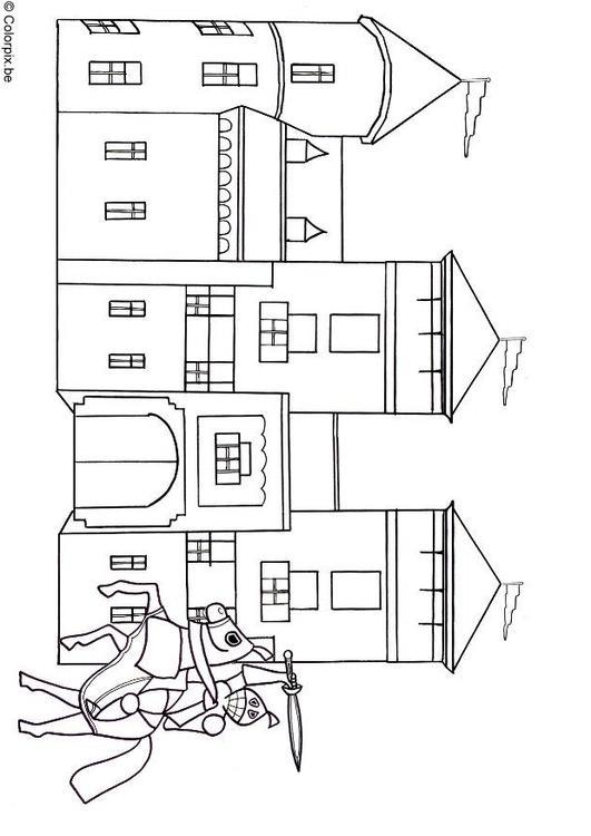 Kleurplaten Ridders Kastelen.Kleurplaat Ridder En Kasteel Afb 18477