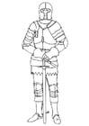 Kleurplaat ridder in harnas