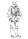 Kleurplaat ridder met harnas